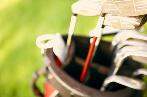 close up image of golf clubs